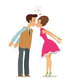 Kiss, love, romance concept. Happy couple kissing. Cartoon vector illustration