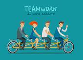 Teamwork, business concept. Business people or students riding tandem bike. Cartoon vector illustration
