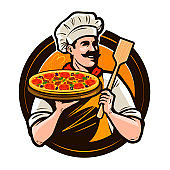 Pizzeria, fast food  or label. Happy chef holding pizza and scapula in hands. Vector illustration