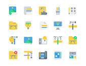 Flat icon set of Design and Creative for website mobile app and more . Pixel perfect icons design