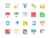 Flat icon set of Business and Seo for website mobile app and more . Pixel perfect icons design