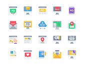 Flat icon set of Digital marketin for website mobile app and more . Pixel perfect icons design