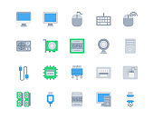 Flat icon set of Computer and Hardware for website mobile app and more . Pixel perfect icons design