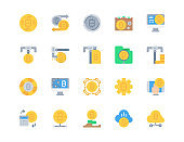 Flat icon set of  Bitcoin for website mobile app and more . Pixel perfect icons design