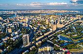 Aerial view of Pechersk, a central neighborhood of Kiev, Ukraine