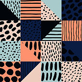 Abstract seamless pattern with ink elements.