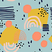 Cute seamless vector pattern with different elements.