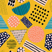 Abstract seamless pattern with different shapes and textures.