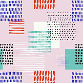 Abstract seamless pattern wit different square shapes and ink elements.