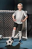 Cute Caucasian Boy Footballer