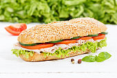 Sub sandwich whole grain grains baguette with ham