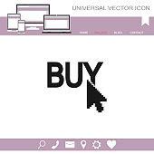 Buy now vector icon. Online buying symbol.