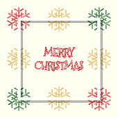red golden green colored snowflakes, christmas greeting card with white frame