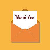 Thank you card in orange thanksgiving envelope