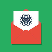snowflake in opened red xmas envelope, flat vector illustration