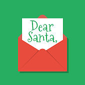 Dear Santa text in opened red xmas envelope