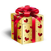 Gift Box Birtday Present Gold box with Red Ribbon decoration and heart shape pattern
