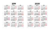 simple 2019 2020 german calendar grid, starts monday, two weekend