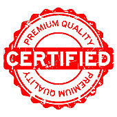 Grunge red rubber stamp premium quality certified round rubber seal stamp on white background