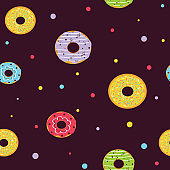 Seamless cartoon sweet on the brown chocolate background. Colorful dessert. Vector illustration.