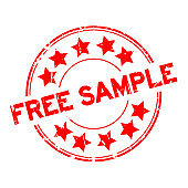 Grunge red free sample with star icon round rubber seal stamp on white background