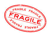 Grunge red fragile word oval rubber seal stamp on white background