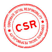 Grunge red CSR Corporate social responsibility word round rubber seal stamp on white background