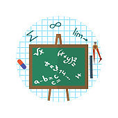 Infographic containing a school board with mathematical formulas. Vector Illustration.