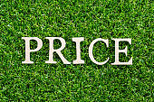 Wood letter in word price on artificial green grass background