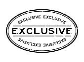 Grunge black exclusive word oval rubber seal stamp on white background