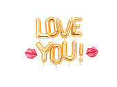 Love You text gold inflatable letters and kisses isolated on white, valentine day greeting card,
