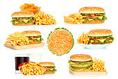 Set of hamburgers, French fries and chips with cola