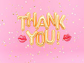 Thank You banner gold inflatable letters on pink background
