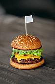 Burger. Close Up Of Tasty Hamburger