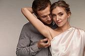 Handsome Man Caressing Woman Soft Fresh Armpits Skin. Body Care