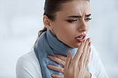 Woman Caught A Cold. Beautiful Female With Cough And Sore Throat