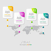 illustration of square infographic elements layout 4 steps for business presentation