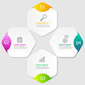 illustration of hexagon infographic elements layout 4 steps