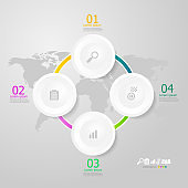 circle infographics elements layout 4 steps for business presentation