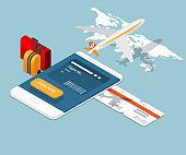 airplane ticket online booking on smartphone