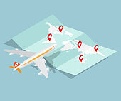 airplane and brochure map with red pin location