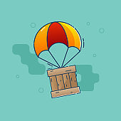 delivery concept parachute flying with wooden box