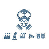 gas mask with pollution vector background