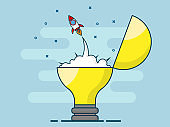 illustration of rocket startup launch from bulb idea flat line design