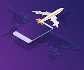 smartphone with airplane on world map vector isometric