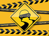 slippely road sign on yellow wall vector background