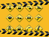 set of smog, pollution icon flat design on yellow background