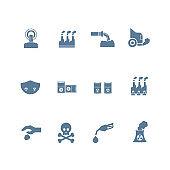 set of smog, pollution icon flat design
