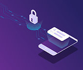 cyber security smartphone protect with fingerprint locked