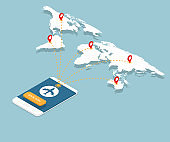 online booking on smartphone with airplane flight routes